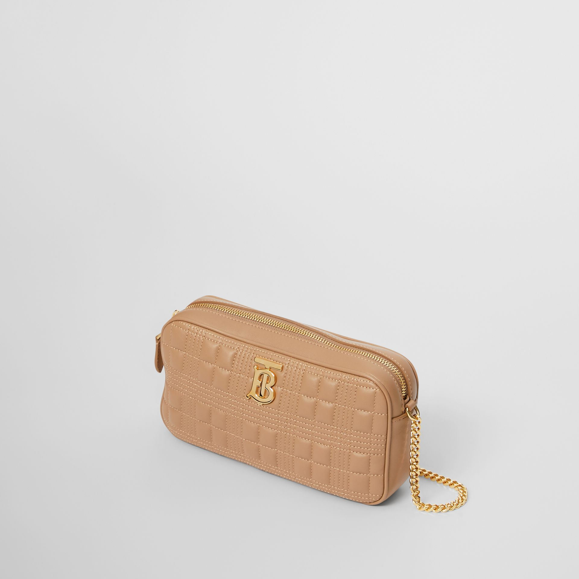 Quilted Check Lambskin Camera Bag in Camel - Women | Burberry - gallery image 3