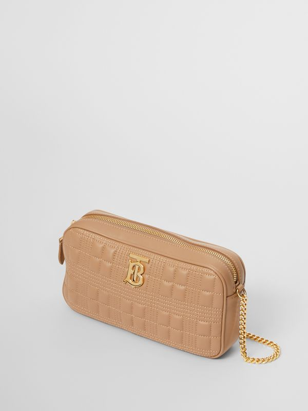Quilted Check Lambskin Camera Bag in Camel - Women | Burberry - cell image 3