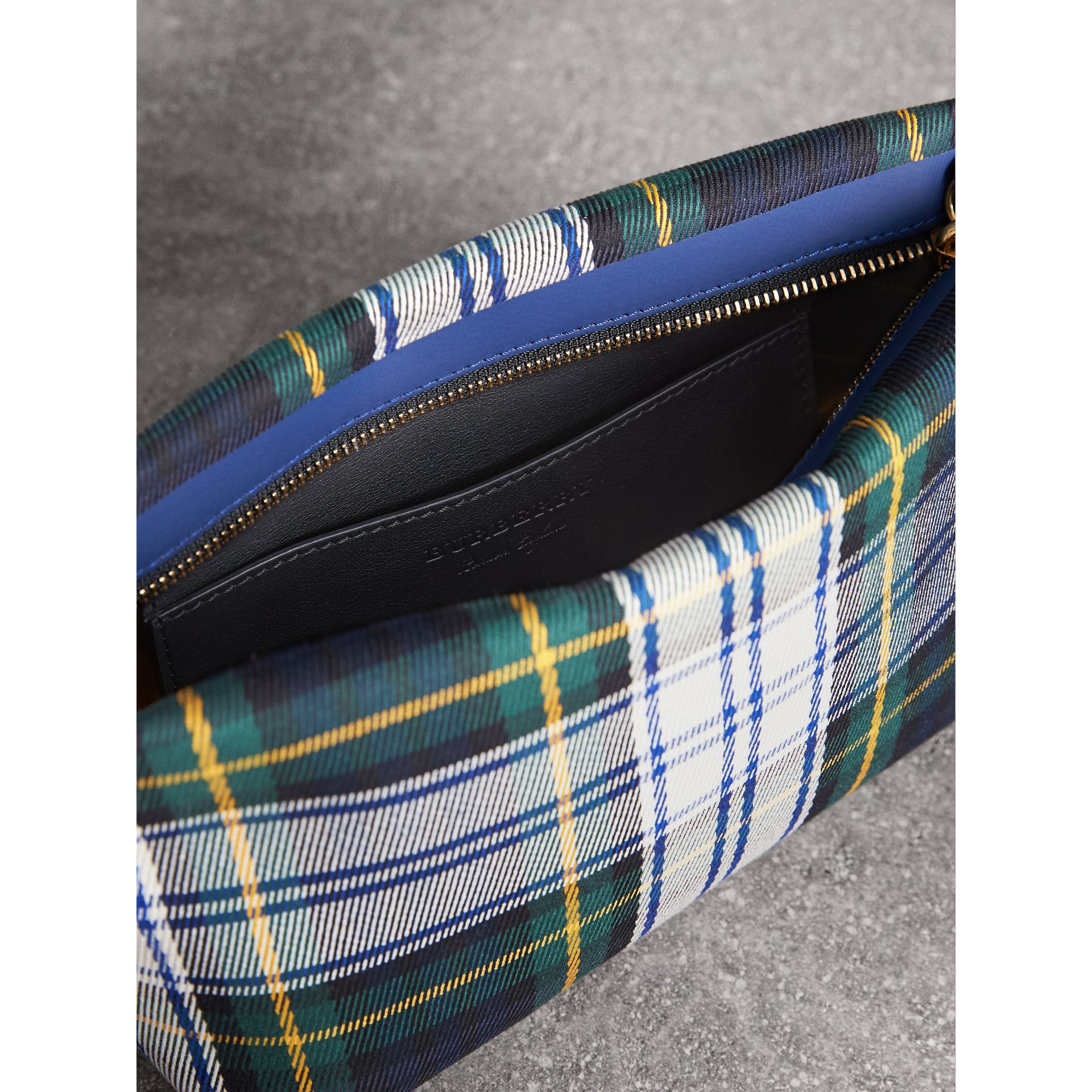 Tartan Cotton Clutch in Ink Blue/bright Yellow | Burberry - gallery image 6