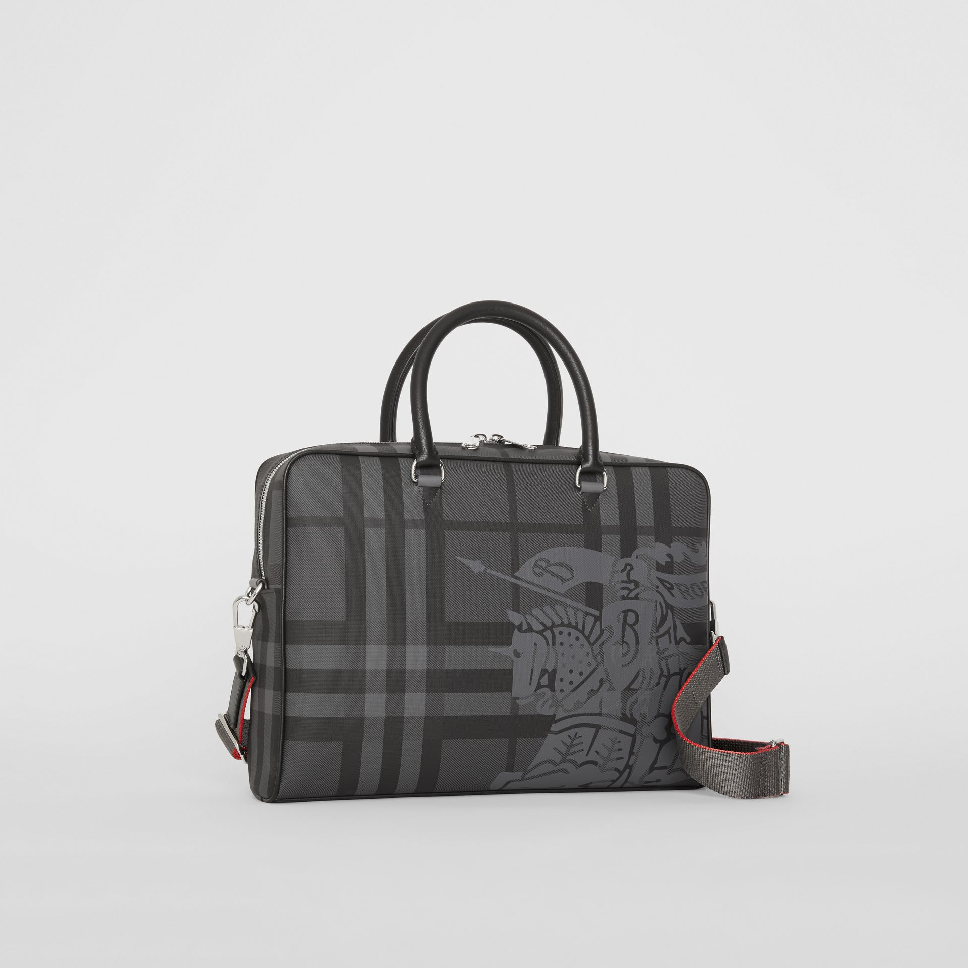 Attaché-case en cuir à motif London check et emblème du Cavalier (Anthracite/noir) - Homme | Burberry Canada - photo de la galerie 6