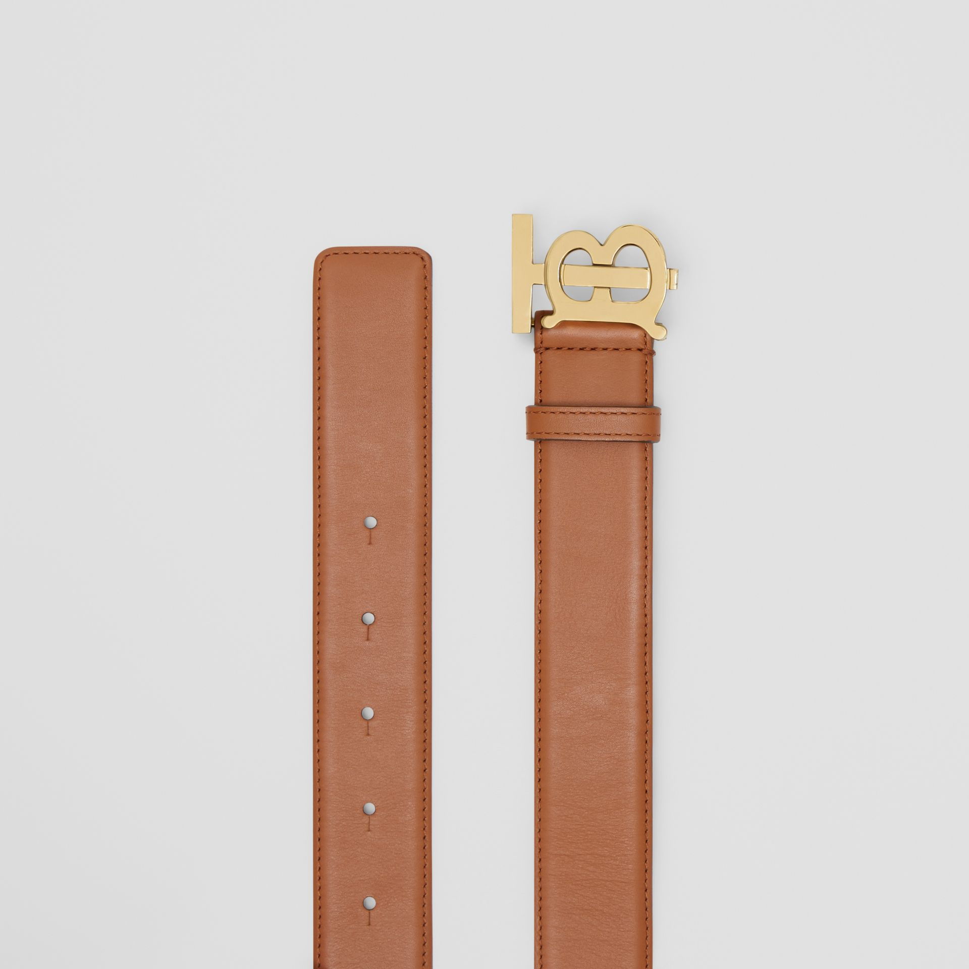 Monogram Motif Leather Belt in Tan - Women | Burberry - gallery image 5