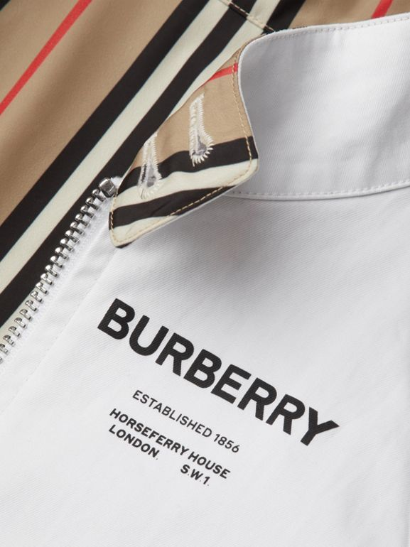 Reversible Icon Stripe Cotton Harrington Jacket in Optic White | Burberry - cell image 1