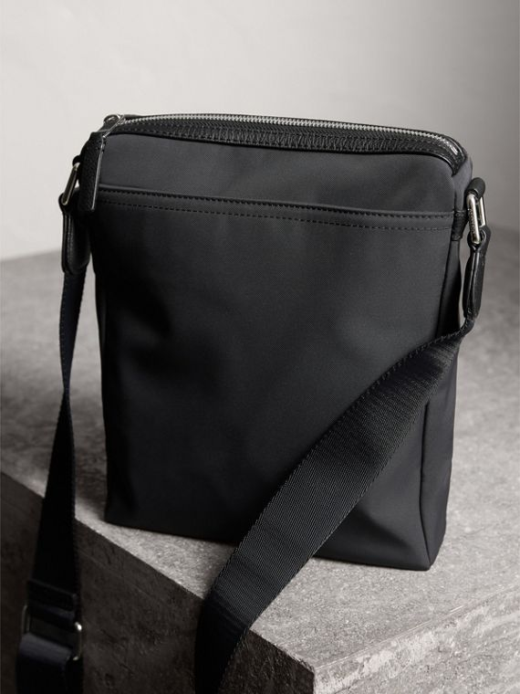 Small Technical Crossbody Bag with Leather Trim in Black - Men | Burberry Canada - cell image 3