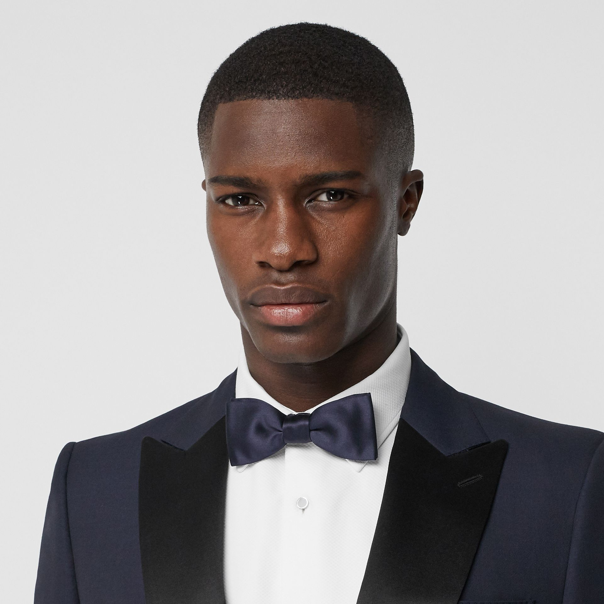 Silk Satin Bow Tie in Navy - Men | Burberry - gallery image 2