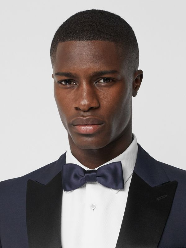 Silk Satin Bow Tie in Navy - Men | Burberry - cell image 2