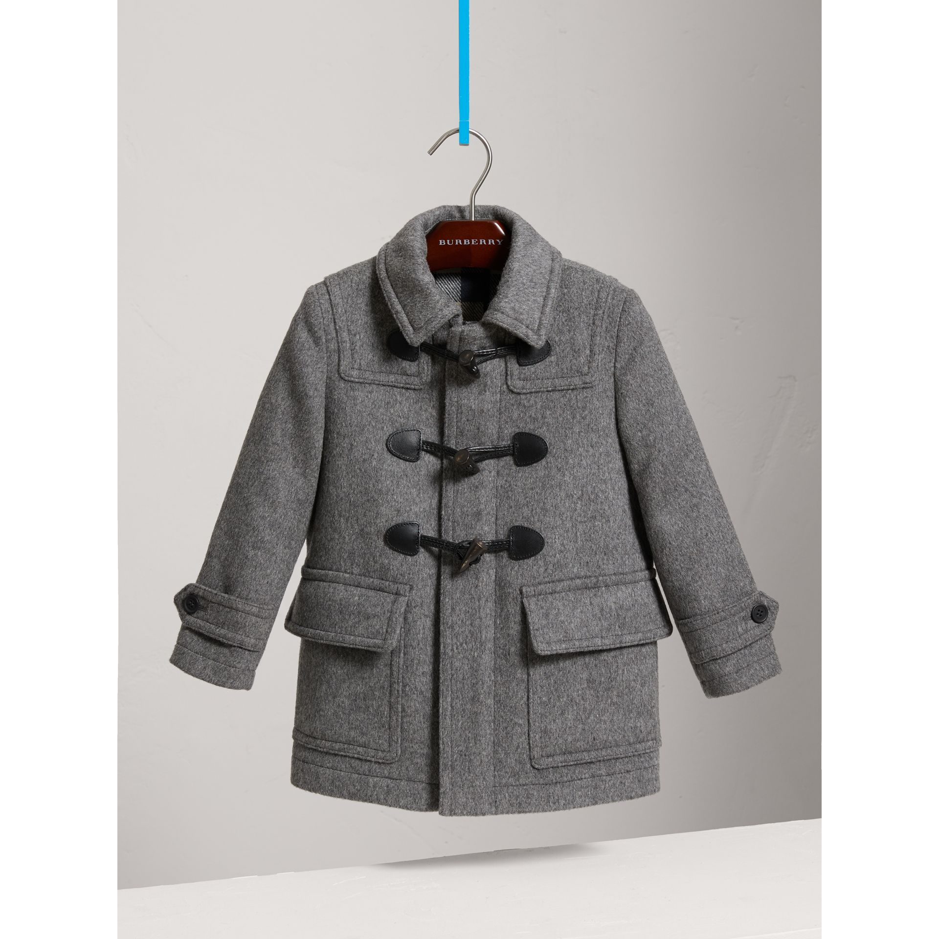 Wool Duffle Coat with Check-lined Hood in Mid Grey Melange - Girl | Burberry United Kingdom - gallery image 2