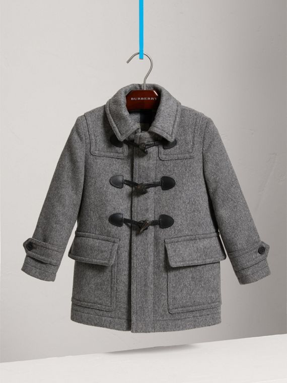 Wool Duffle Coat with Check-lined Hood in Mid Grey Melange - Girl | Burberry United Kingdom - cell image 2