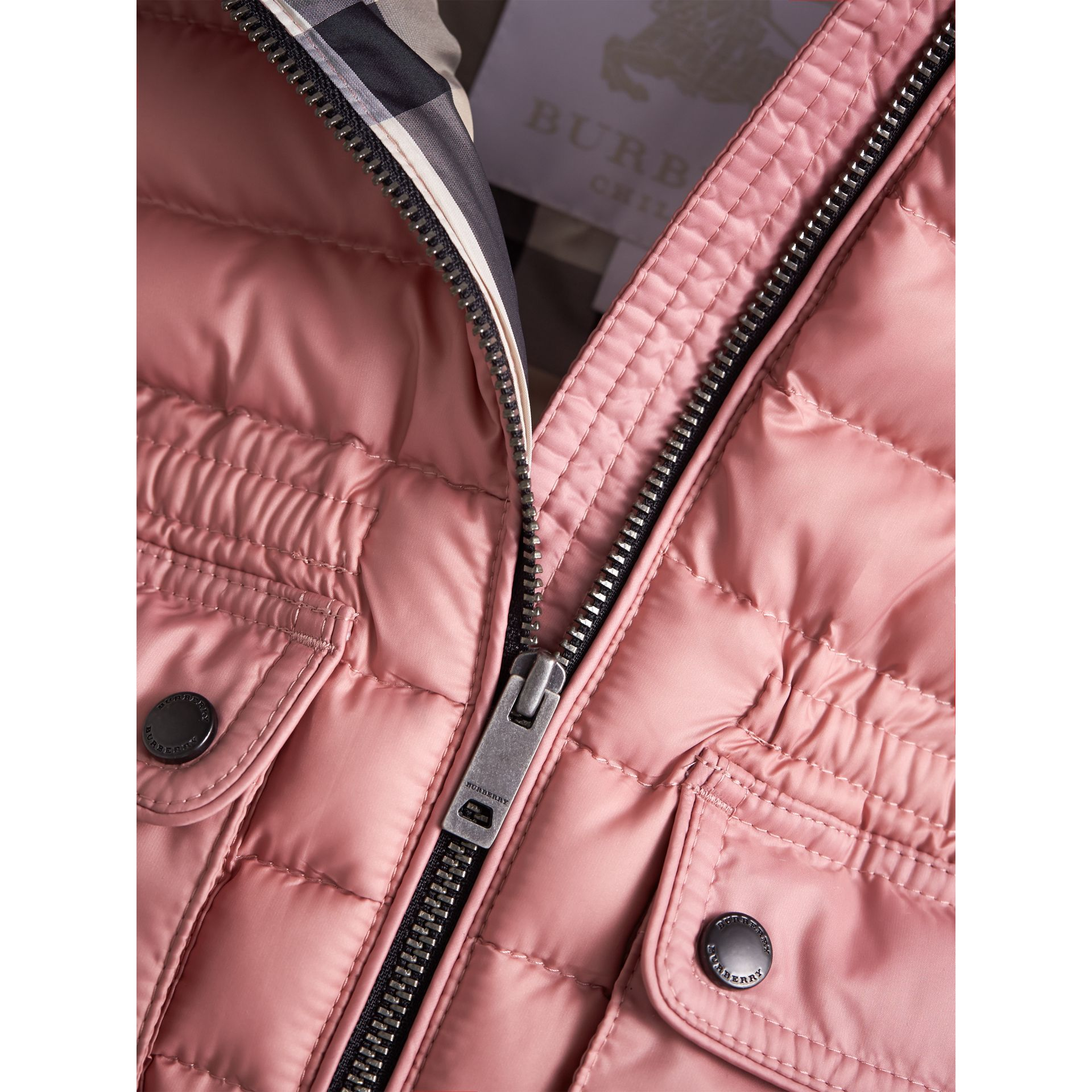 Down-filled Gilet with Detachable Hood in Pale Rose | Burberry Australia - gallery image 2