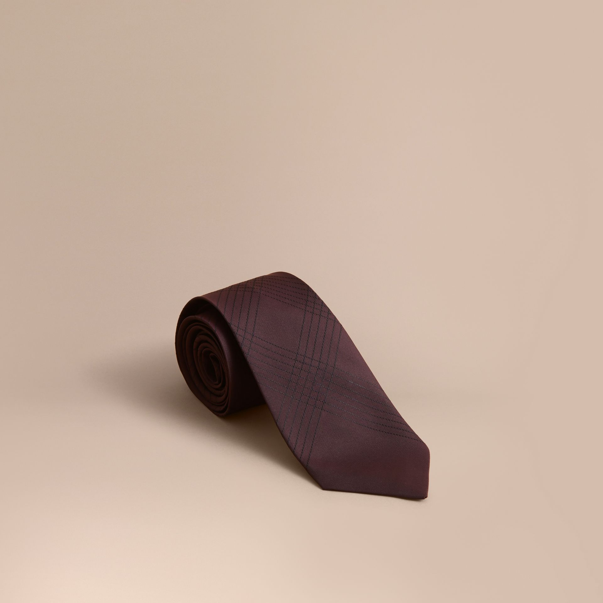 Modern Cut Topstitched Check Silk Tie in Burgundy - Men | Burberry - gallery image 1