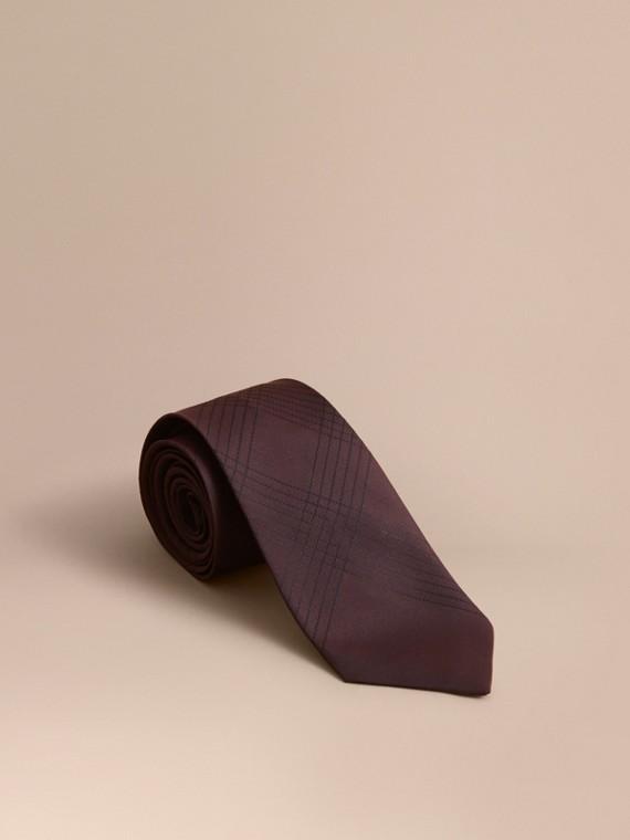Corbata de pala moderna en seda a cuadros con pespuntes (Borgoña)