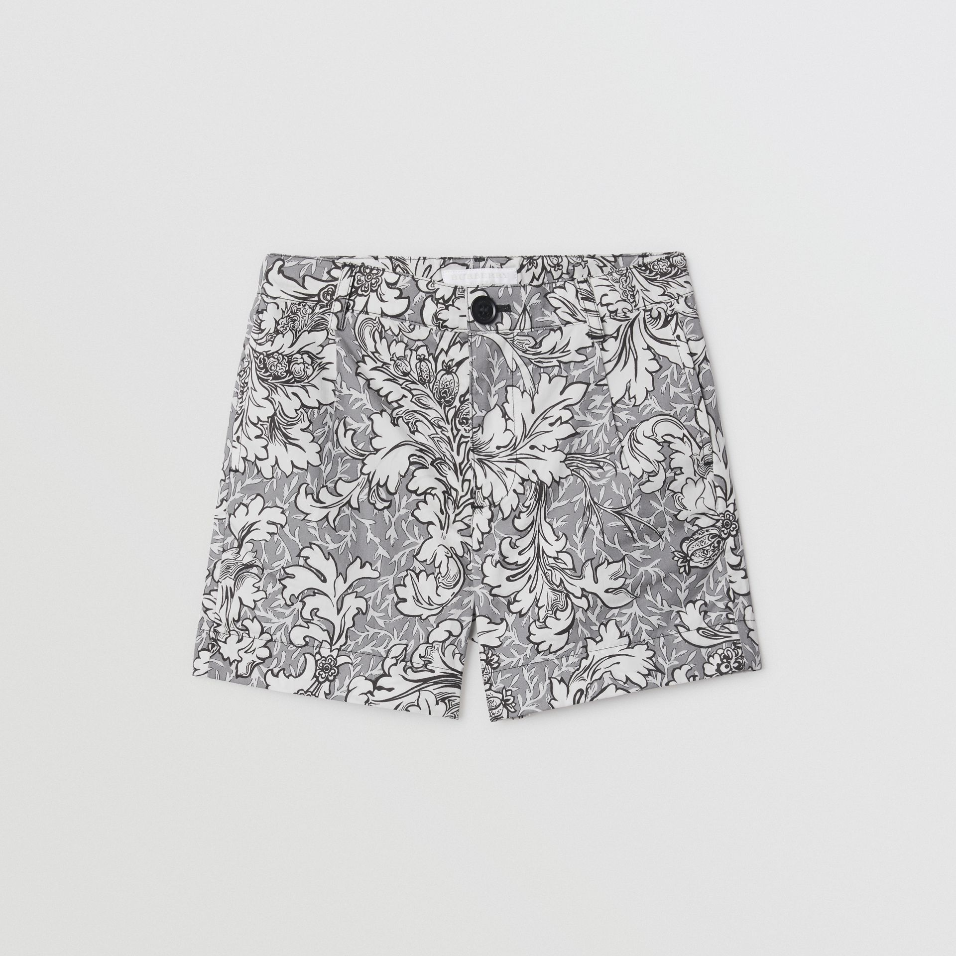 Floral Print Cotton Tailored Shorts in Mid Grey Melange | Burberry - gallery image 0
