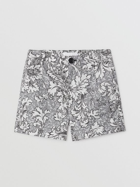 Floral Print Cotton Tailored Shorts in Mid Grey Melange