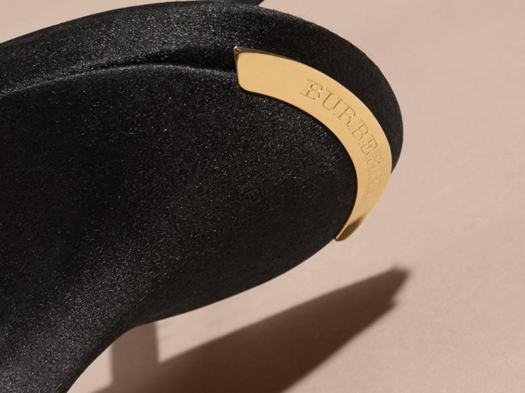 Black Gem Embellished Leather Sandals - cell image 1