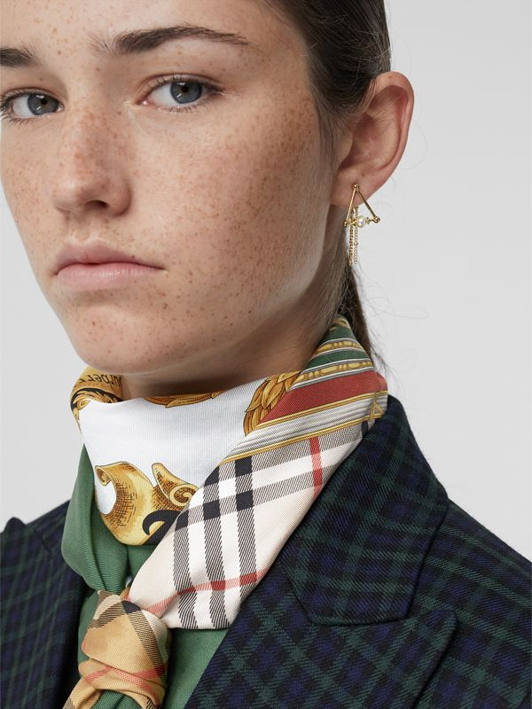 Faux Pearl and Triangle Gold-plated Drop Earrings in Light - Women | Burberry - cell image 2