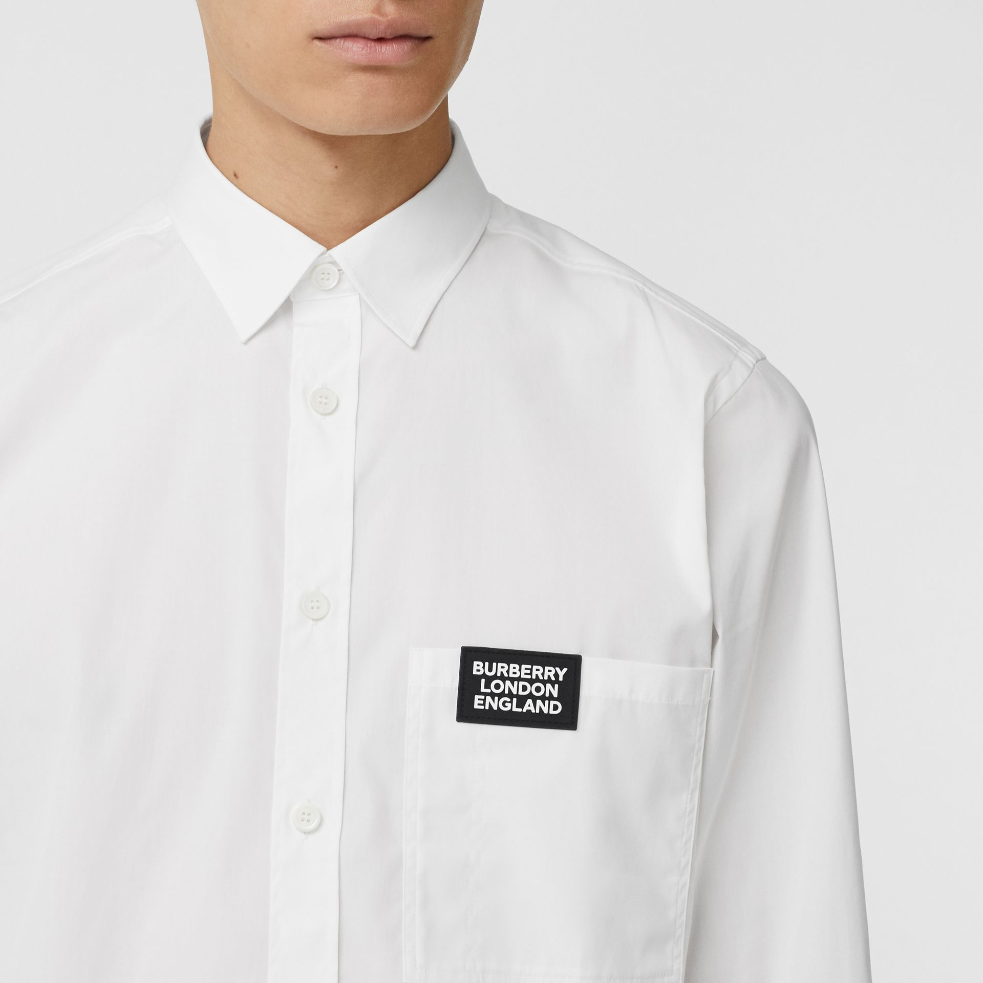 Logo Detail Stretch Cotton Poplin Shirt in White - Men | Burberry Singapore - gallery image 1