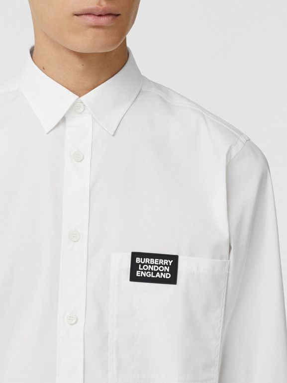 Logo Detail Stretch Cotton Poplin Shirt in White - Men | Burberry Singapore - cell image 1