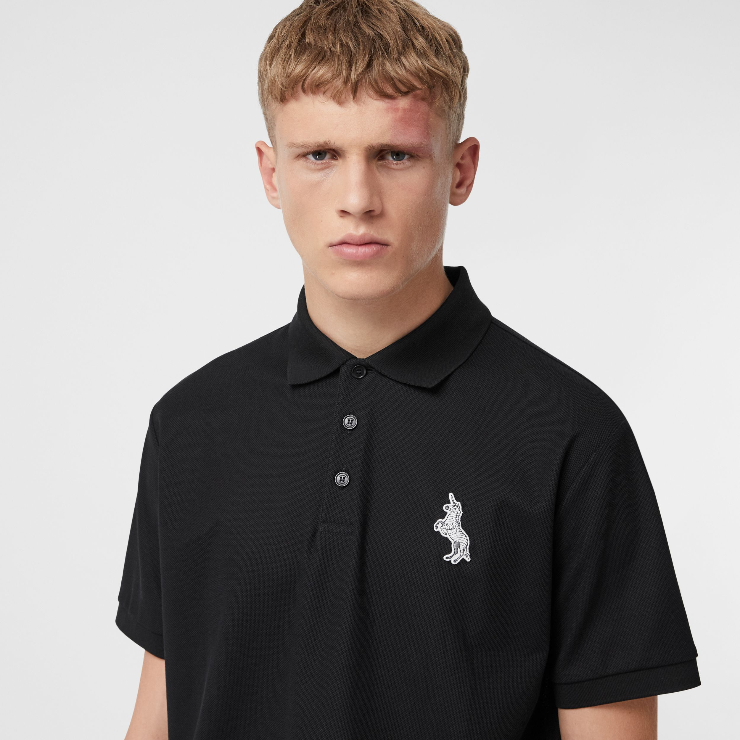 Zebra Appliqué Cotton Piqué Polo Shirt in Black - Men | Burberry Australia - 2