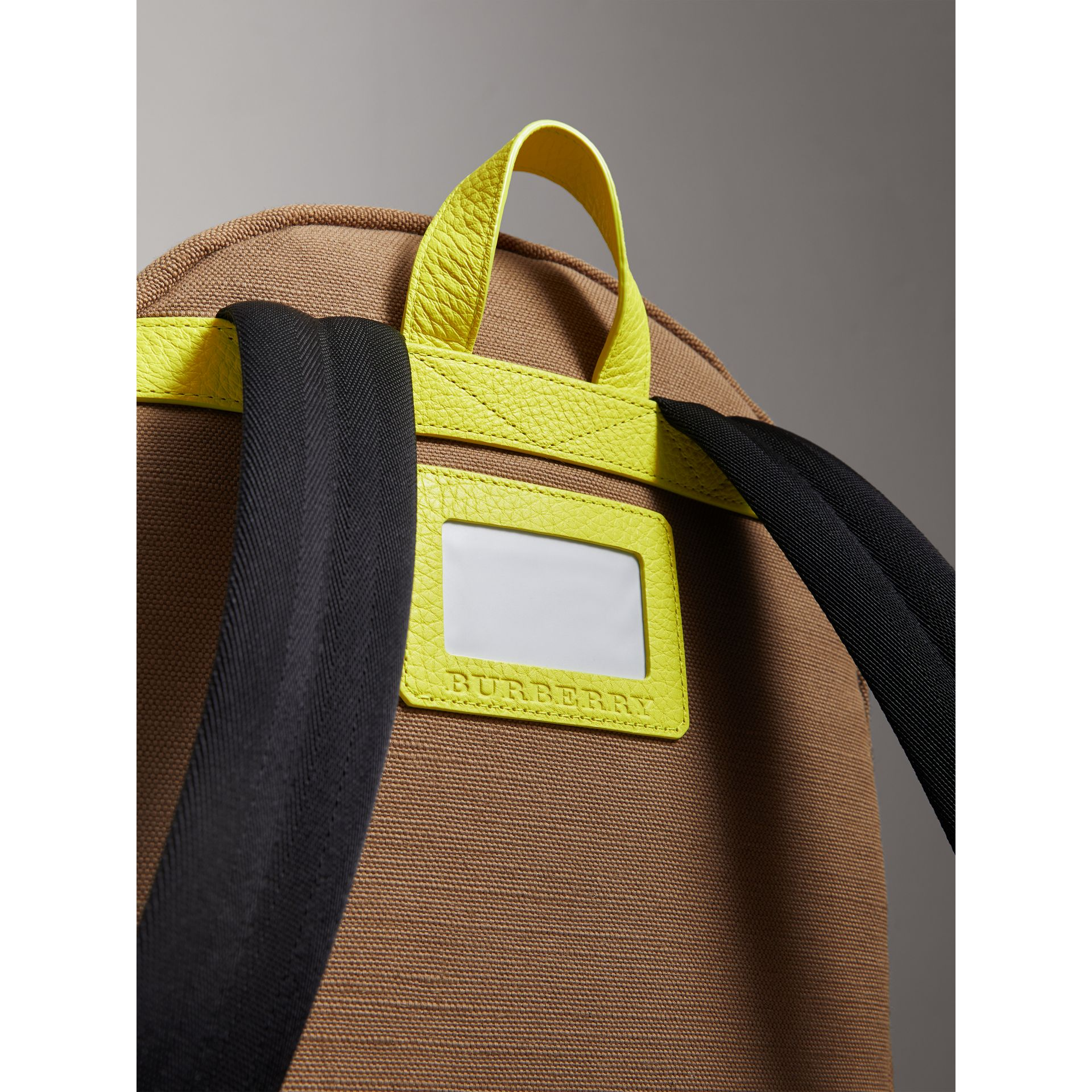 Canvas Check and Leather Backpack in Neon Yellow | Burberry United States - gallery image 1