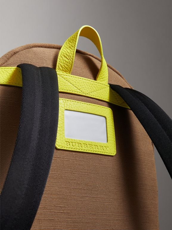 Canvas Check and Leather Backpack in Neon Yellow - Boy | Burberry - cell image 1
