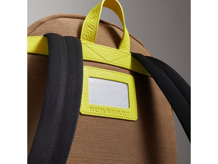 Canvas Check and Leather Backpack in Neon Yellow | Burberry United States - cell image 1