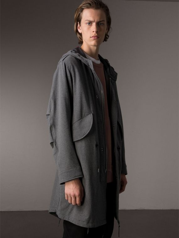 Lightweight Jersey Parka in Dark Grey Melange - Men | Burberry - cell image 3