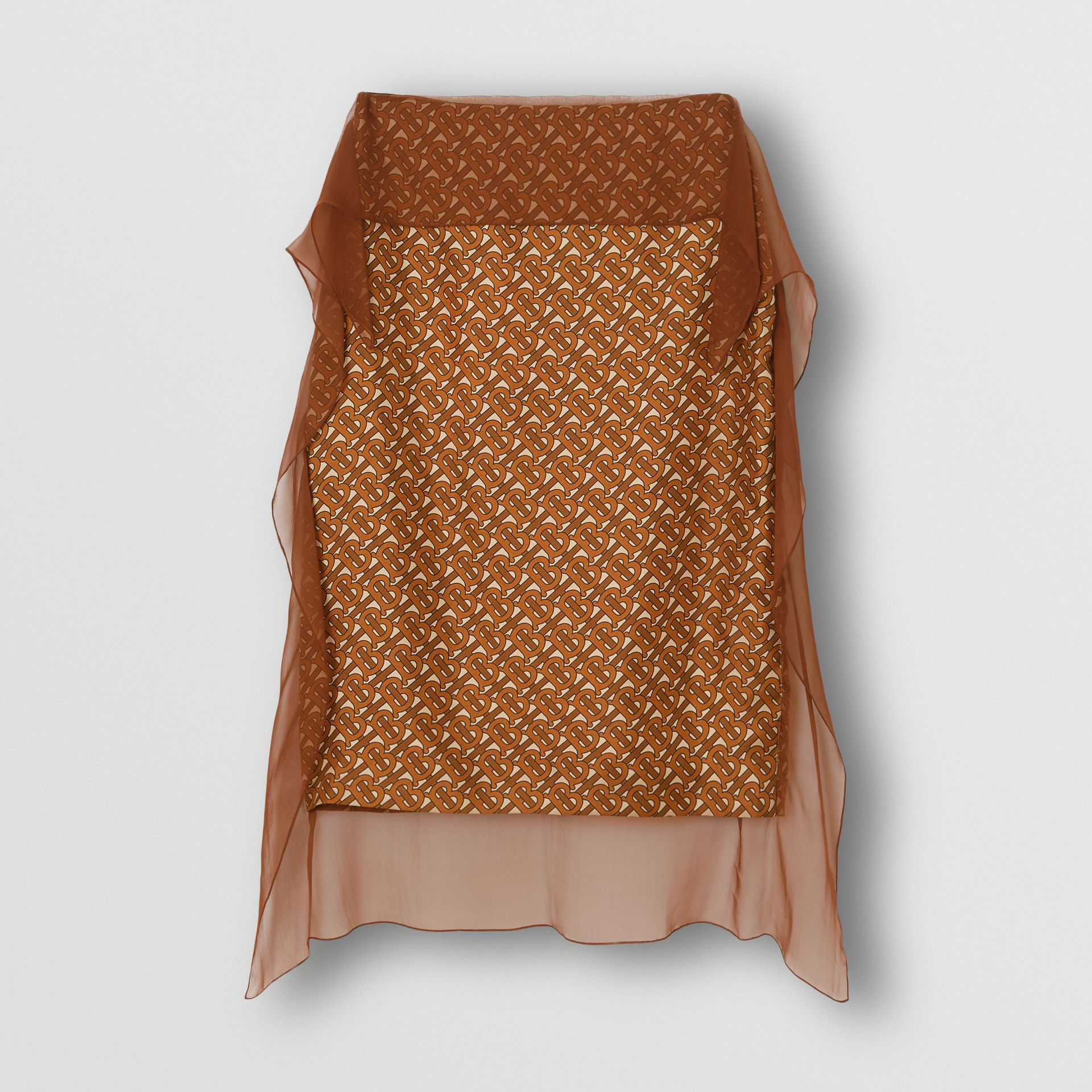 Scarf Detail Monogram Print Silk Pencil Skirt in Brown - Women | Burberry United Kingdom - gallery image 3