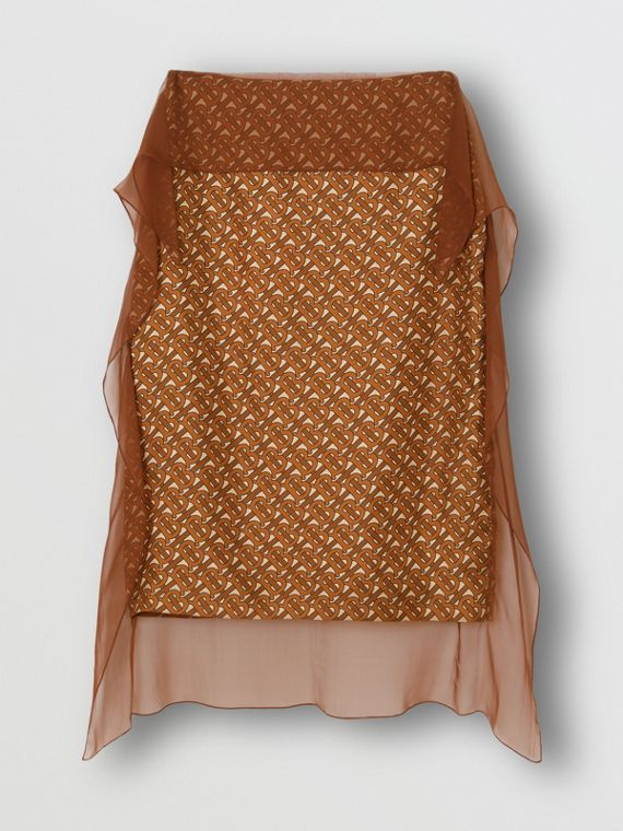 Scarf Detail Monogram Print Silk Pencil Skirt in Brown