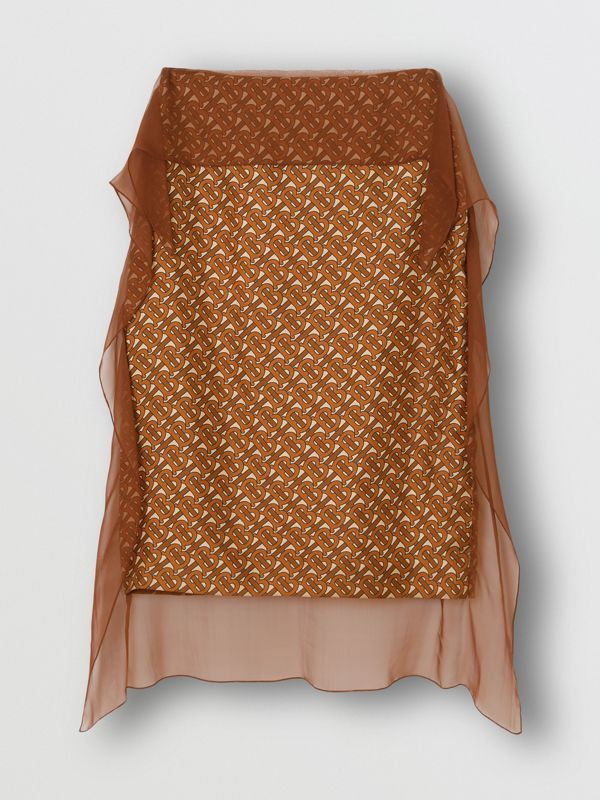 Scarf Detail Monogram Print Silk Pencil Skirt in Brown - Women | Burberry United Kingdom - cell image 3