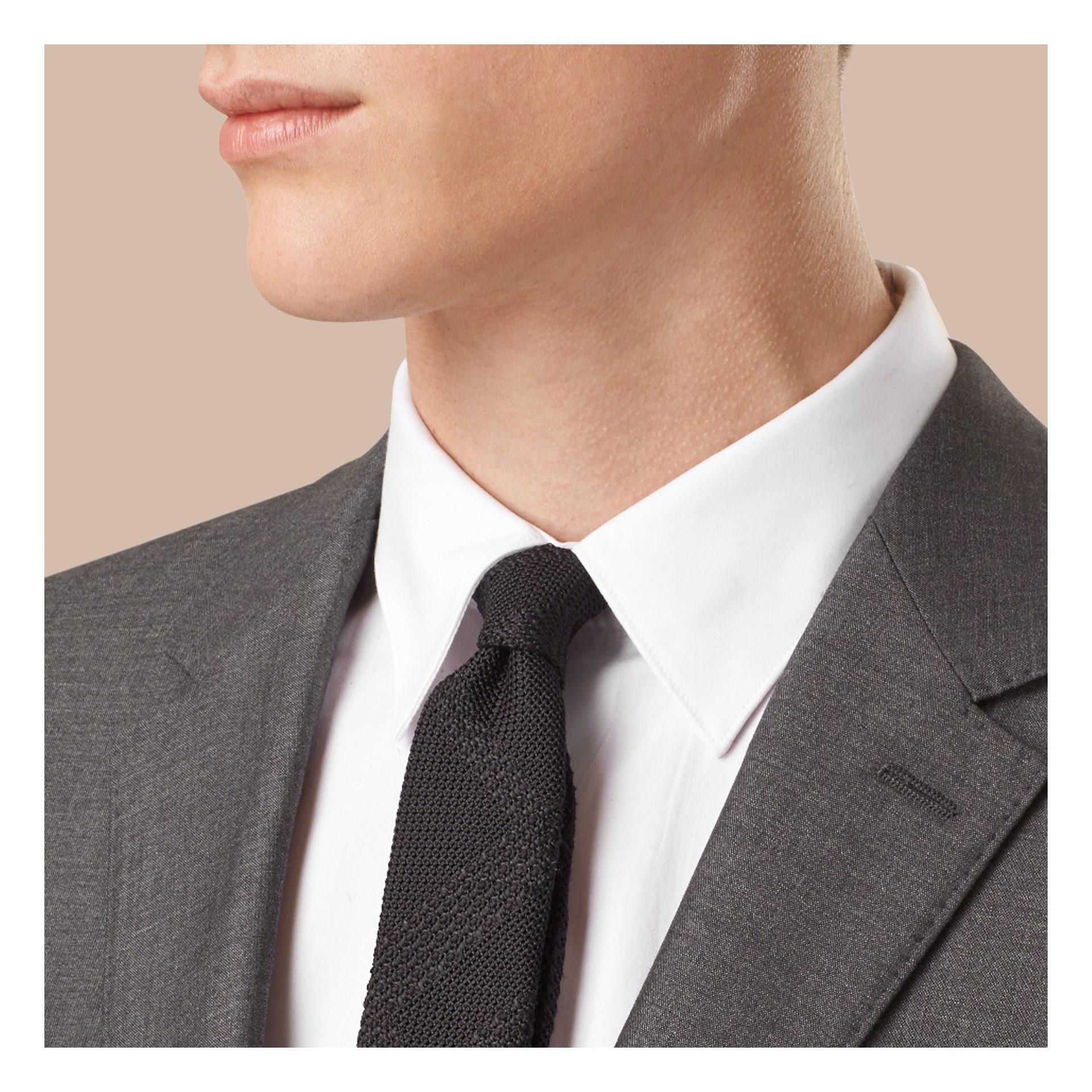 Dark grey melange Slim Fit Wool Silk Half-canvas Suit - gallery image 3
