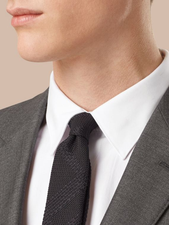 Dark grey melange Slim Fit Wool Silk Half-canvas Suit - cell image 2
