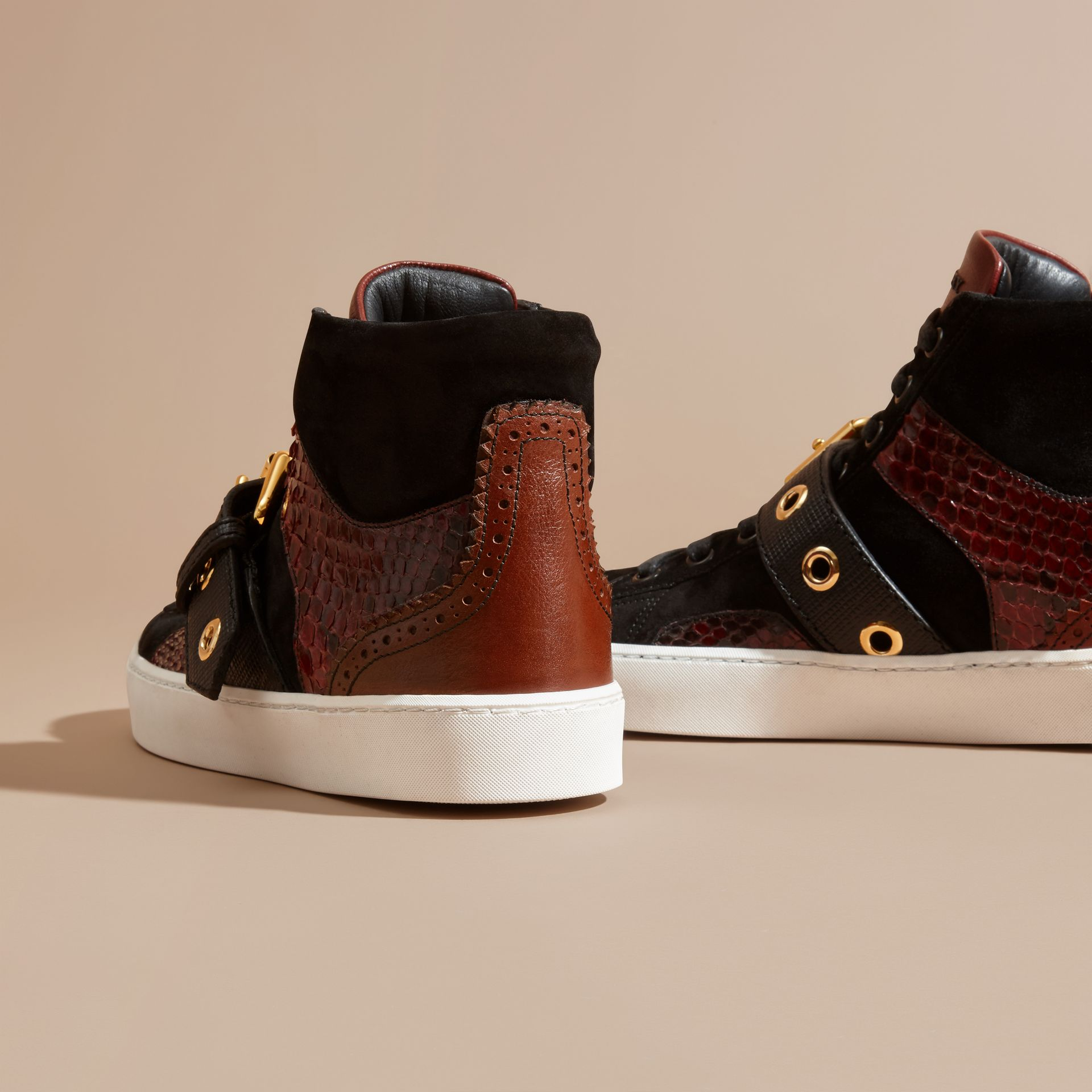 Bordeaux Buckle Detail Leather and Snakeskin High-top Trainers Bordeaux - gallery image 4