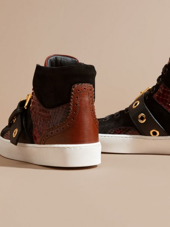 Buckle Detail Leather and Snakeskin High-top Trainers in Bordeaux - cell image 3