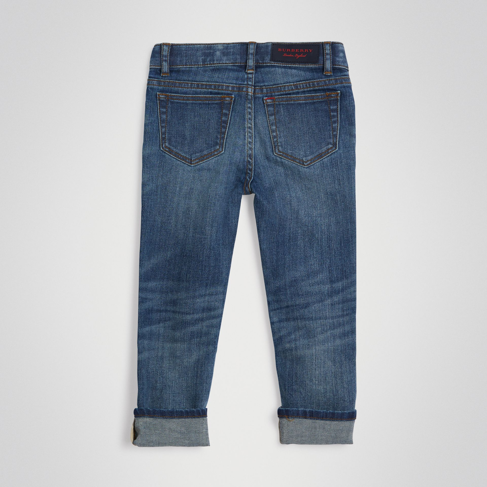 Skinny Fit Stretch Jeans in Mid Indigo | Burberry - gallery image 3