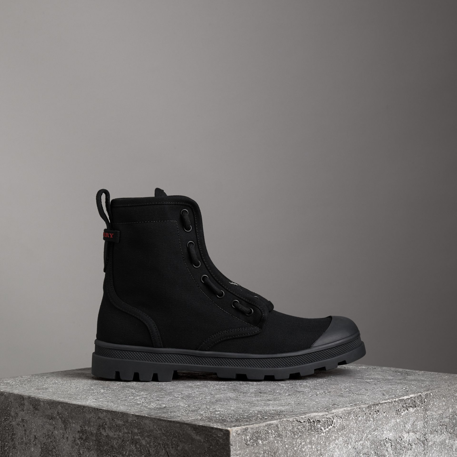 Zipped Cotton Canvas Boots in Black - Men | Burberry - gallery image 0