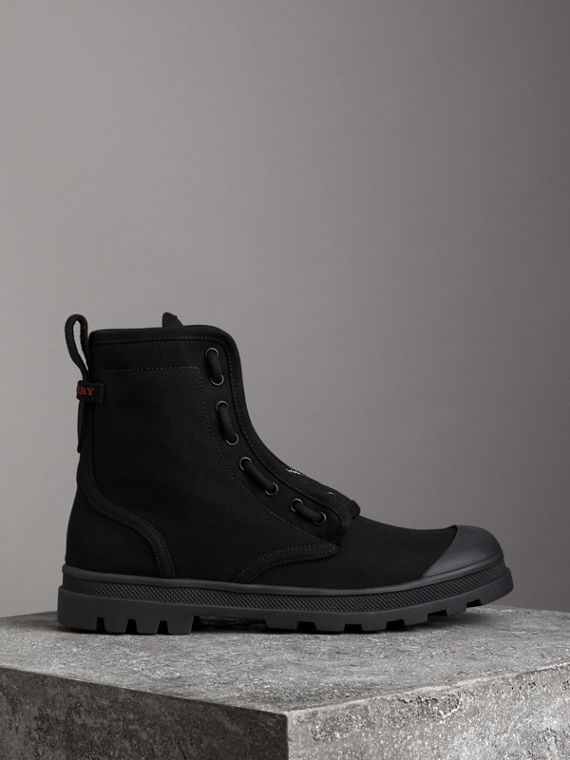 Zipped Cotton Canvas Boots in Black