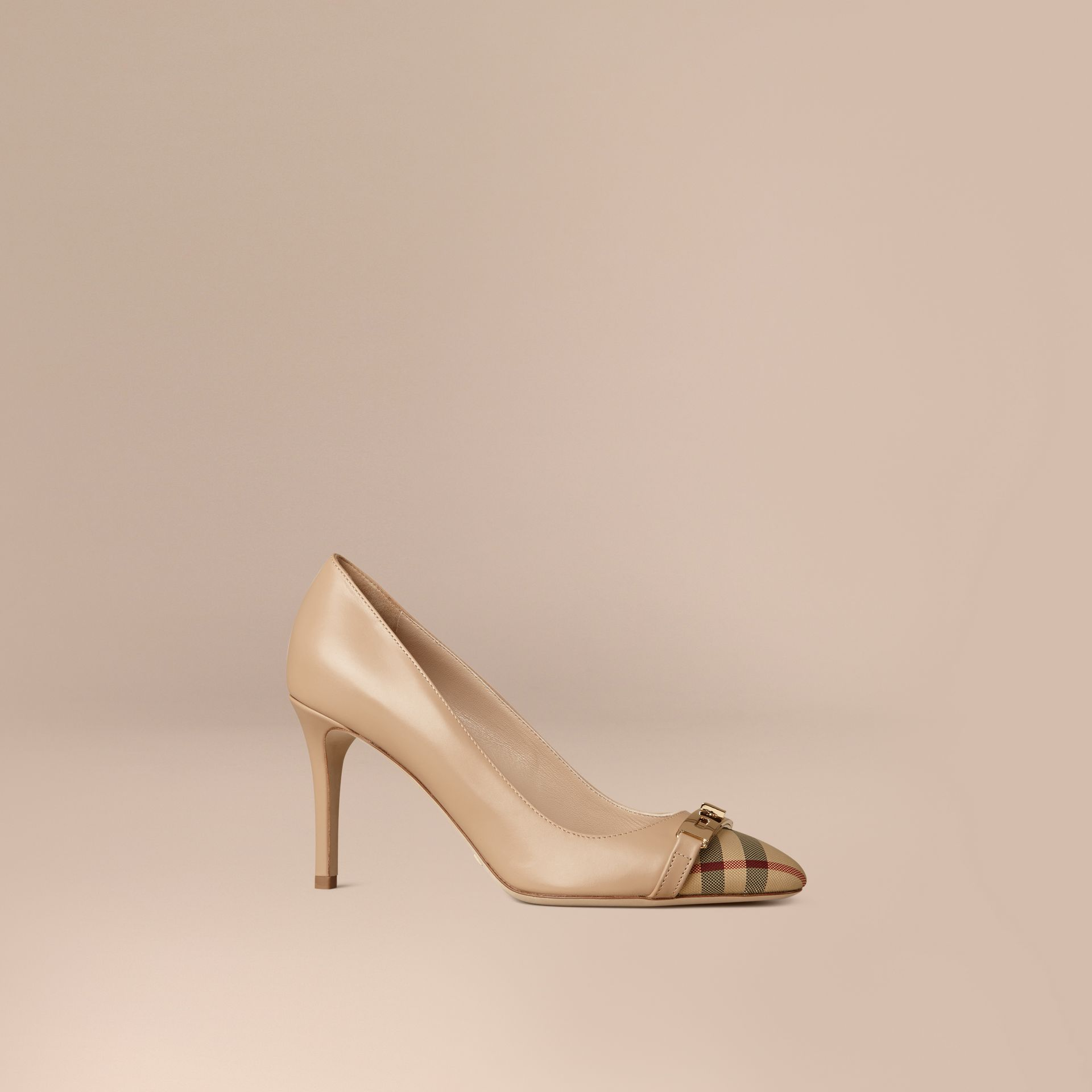 Horseferry Check Leather Pumps in Light Nude - gallery image 1