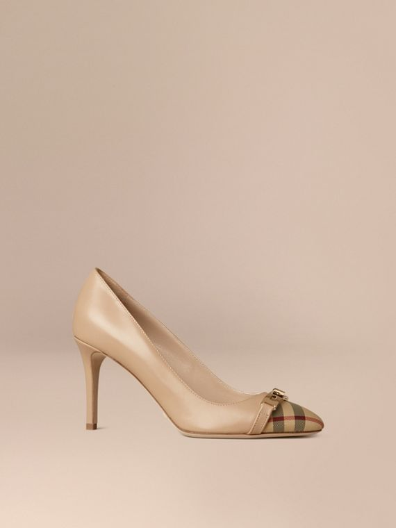 Horseferry Check Leather Pumps in Light Nude - Women | Burberry
