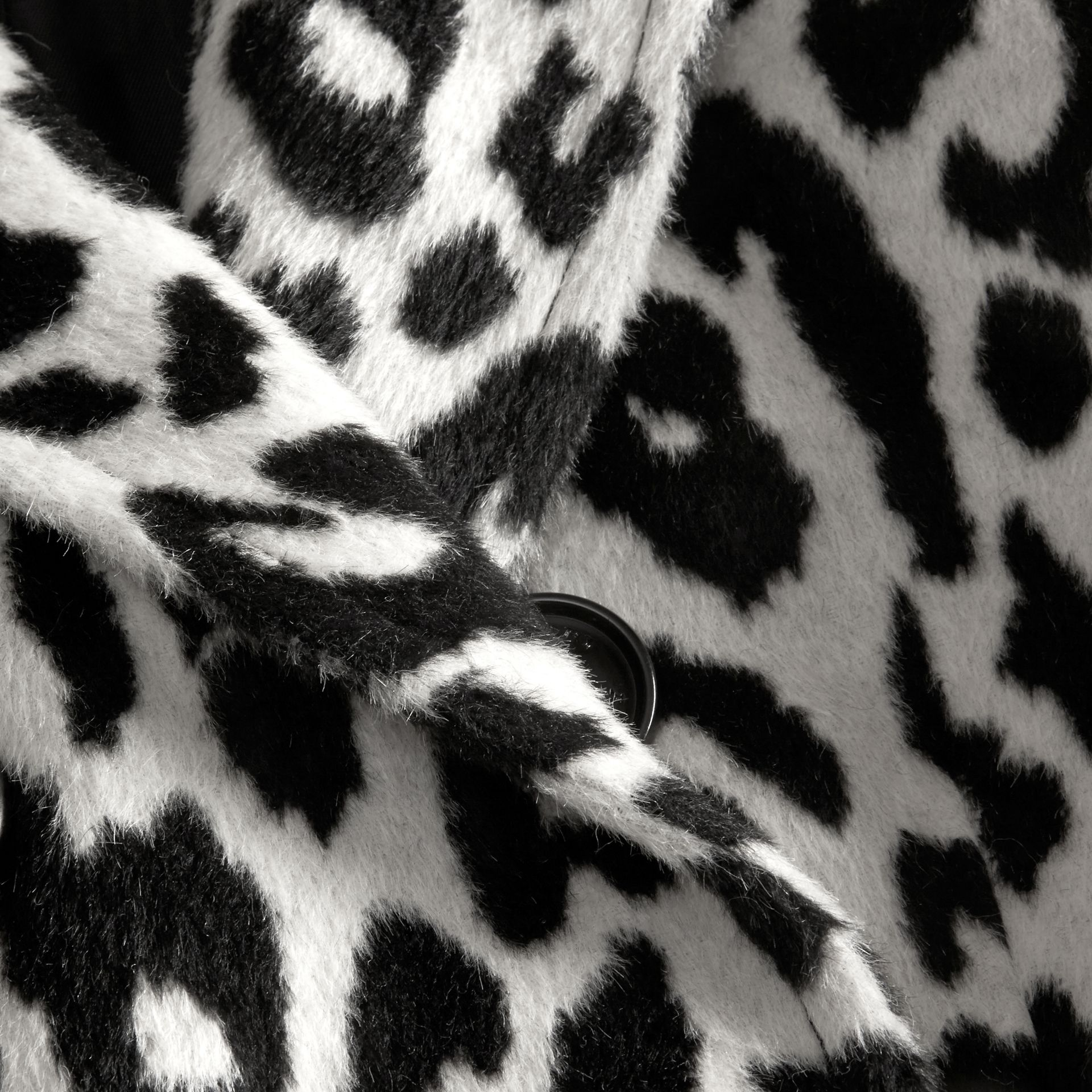 Black/white Leopard Jacquard Lama Wool Coat - gallery image 2