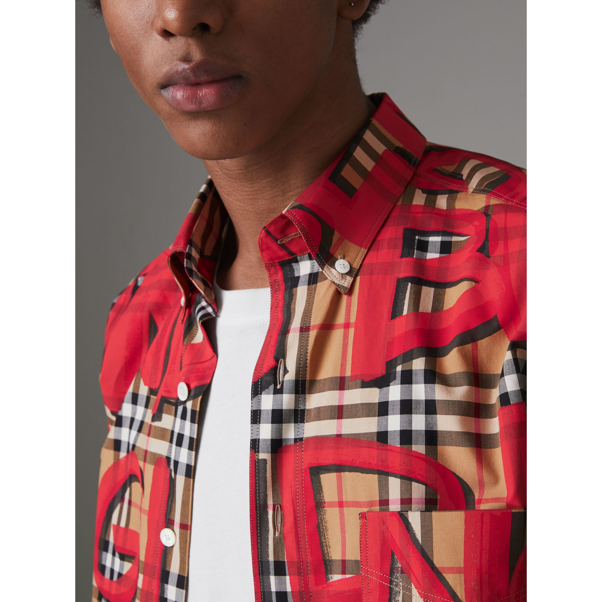 Graffiti Print Vintage Check Shirt in Bright Red - Men | Burberry Australia - gallery image 1
