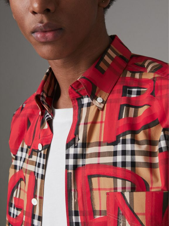 Graffiti Print Vintage Check Shirt in Bright Red - Men | Burberry United Kingdom - cell image 1