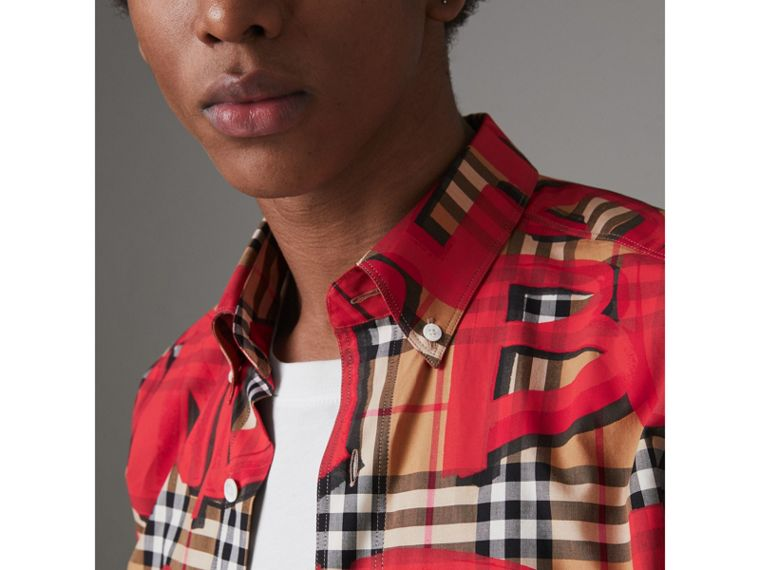 Graffiti Print Vintage Check Shirt in Bright Red - Men | Burberry Australia - cell image 1