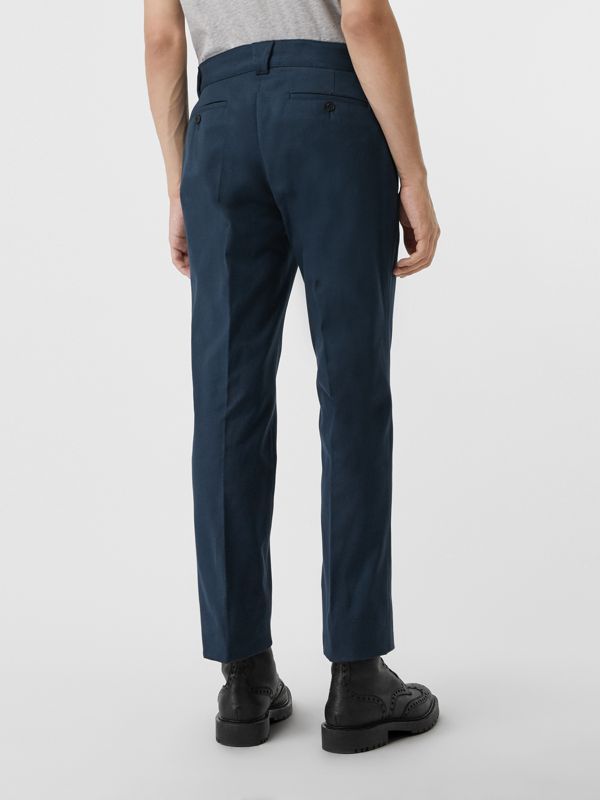 Technical Cotton Twill Trousers in Navy - Men | Burberry Canada - cell image 2