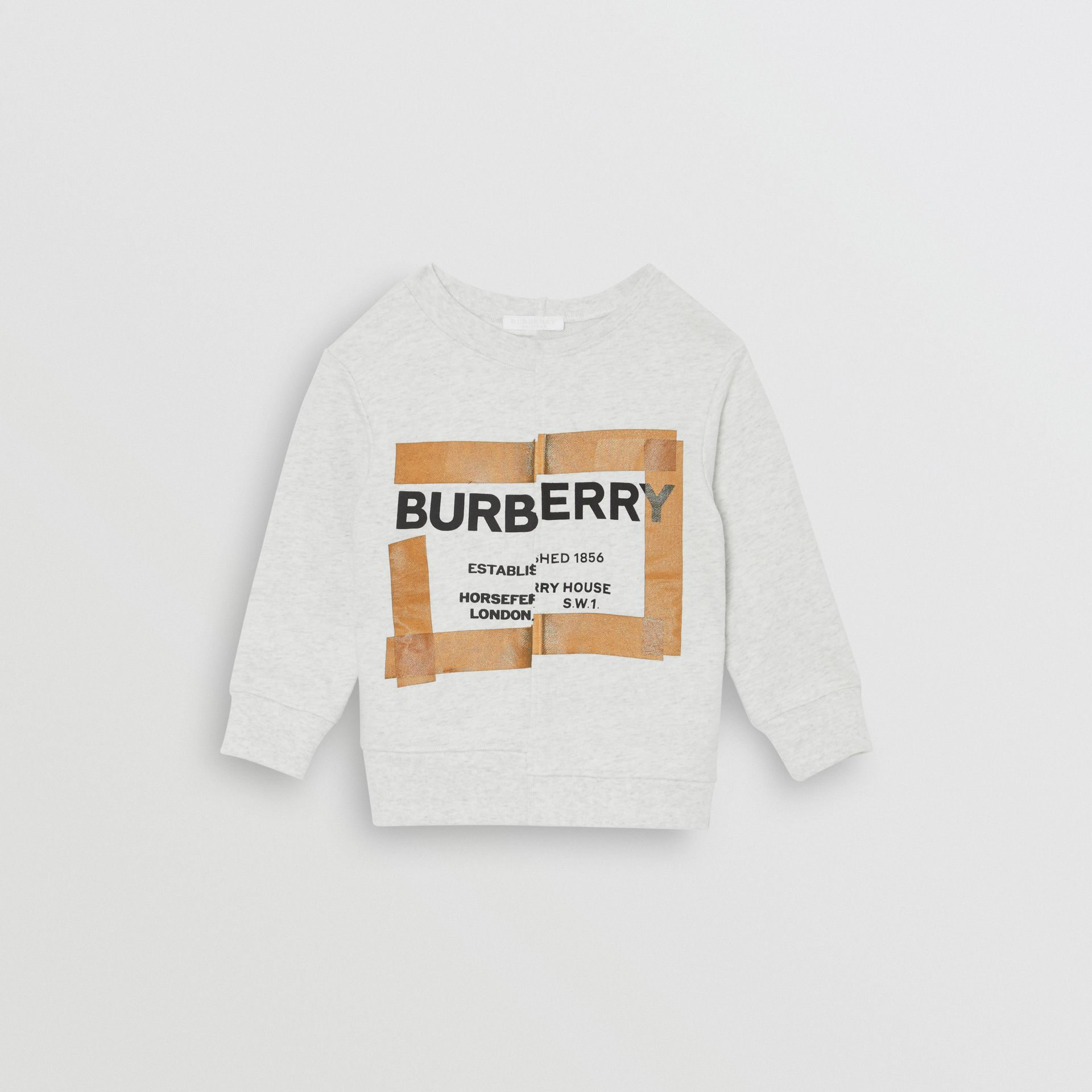 Horseferry Print Cotton Sweatshirt in White Melange | Burberry - gallery image 0