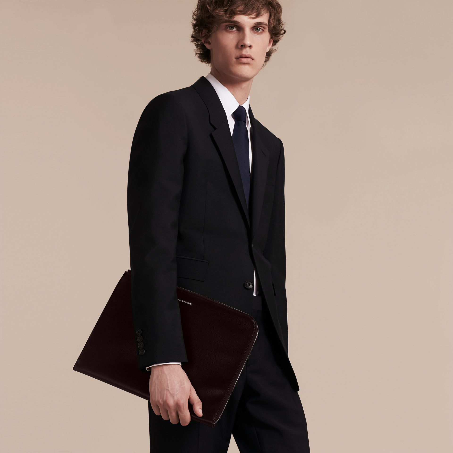 London Leather Document Case in Black - Men | Burberry - gallery image 3