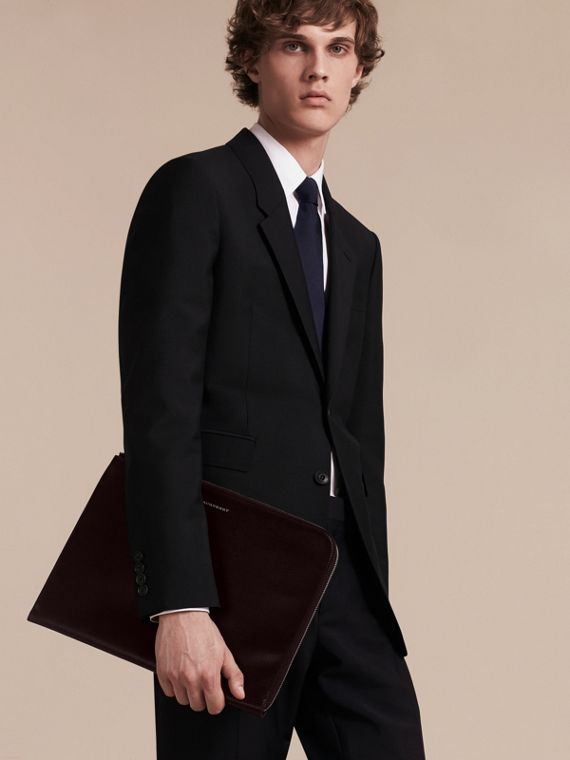 London Leather Document Case in Black - Men | Burberry - cell image 2