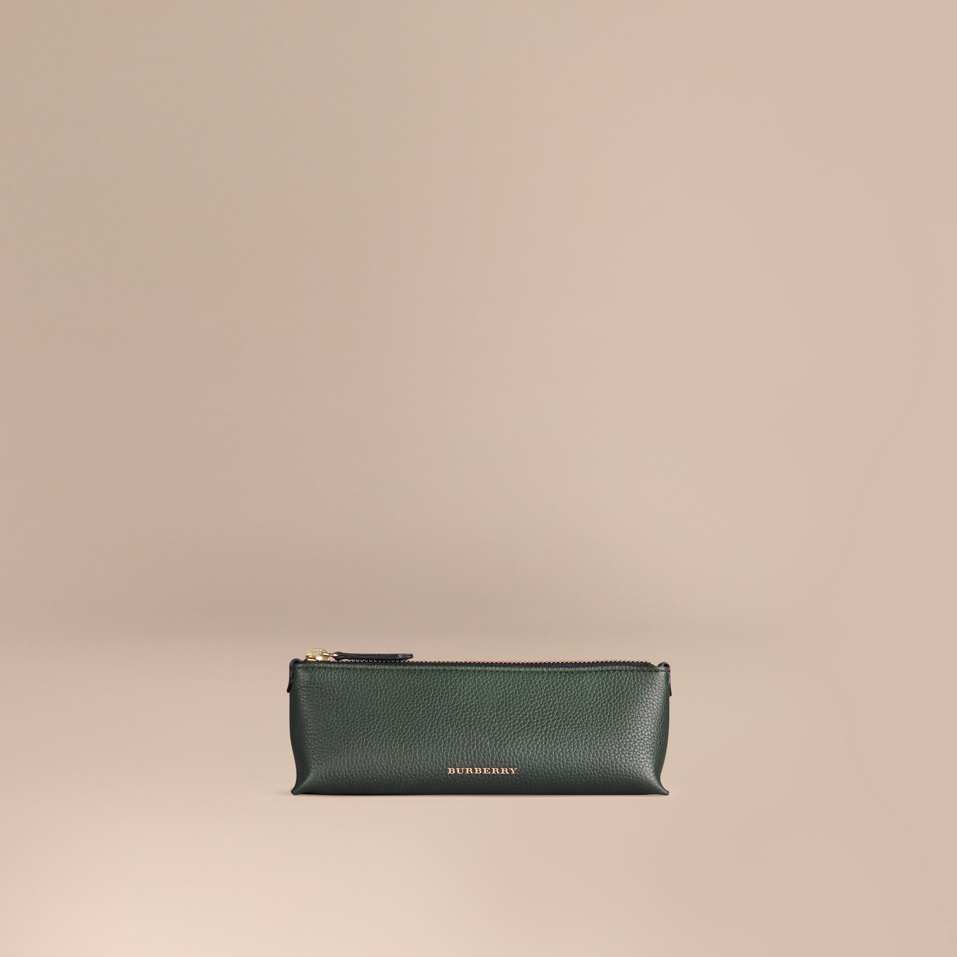 Dark forest green Small Grainy Leather Digital Accessory Pouch Dark Forest Green - gallery image 1