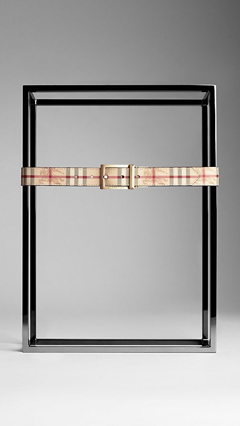 Chocolate Haymarket Check Reversible Leather Belt - Image 2