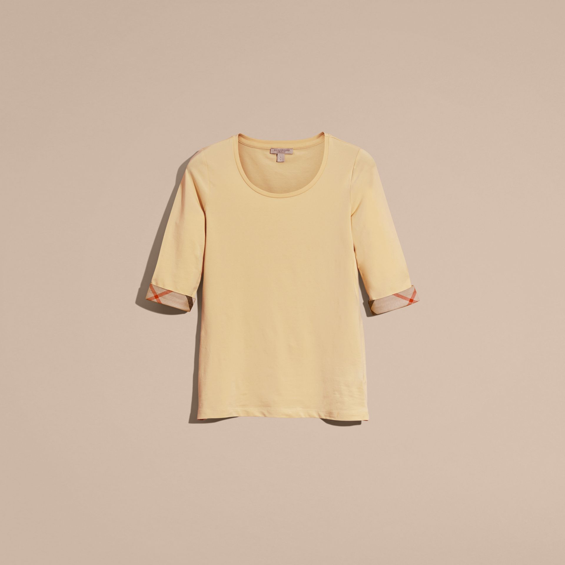Pale lemon Check Cuff Stretch-Cotton Top Pale Lemon - gallery image 4