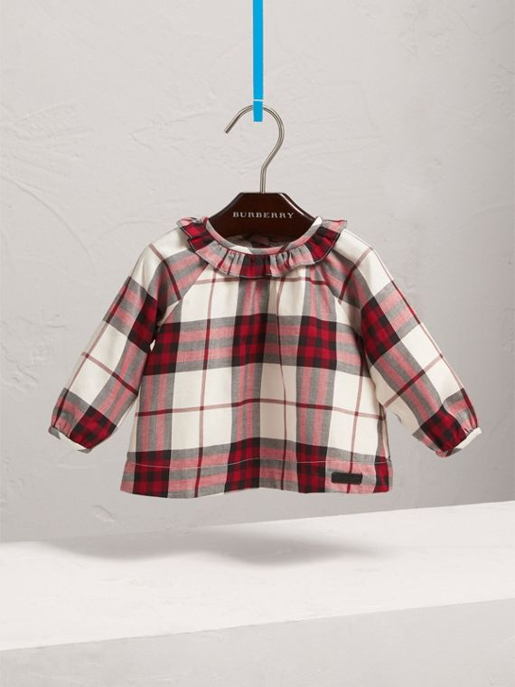 Ruffle Collar Check Cotton Flannel Top in Crimson Red | Burberry - cell image 2