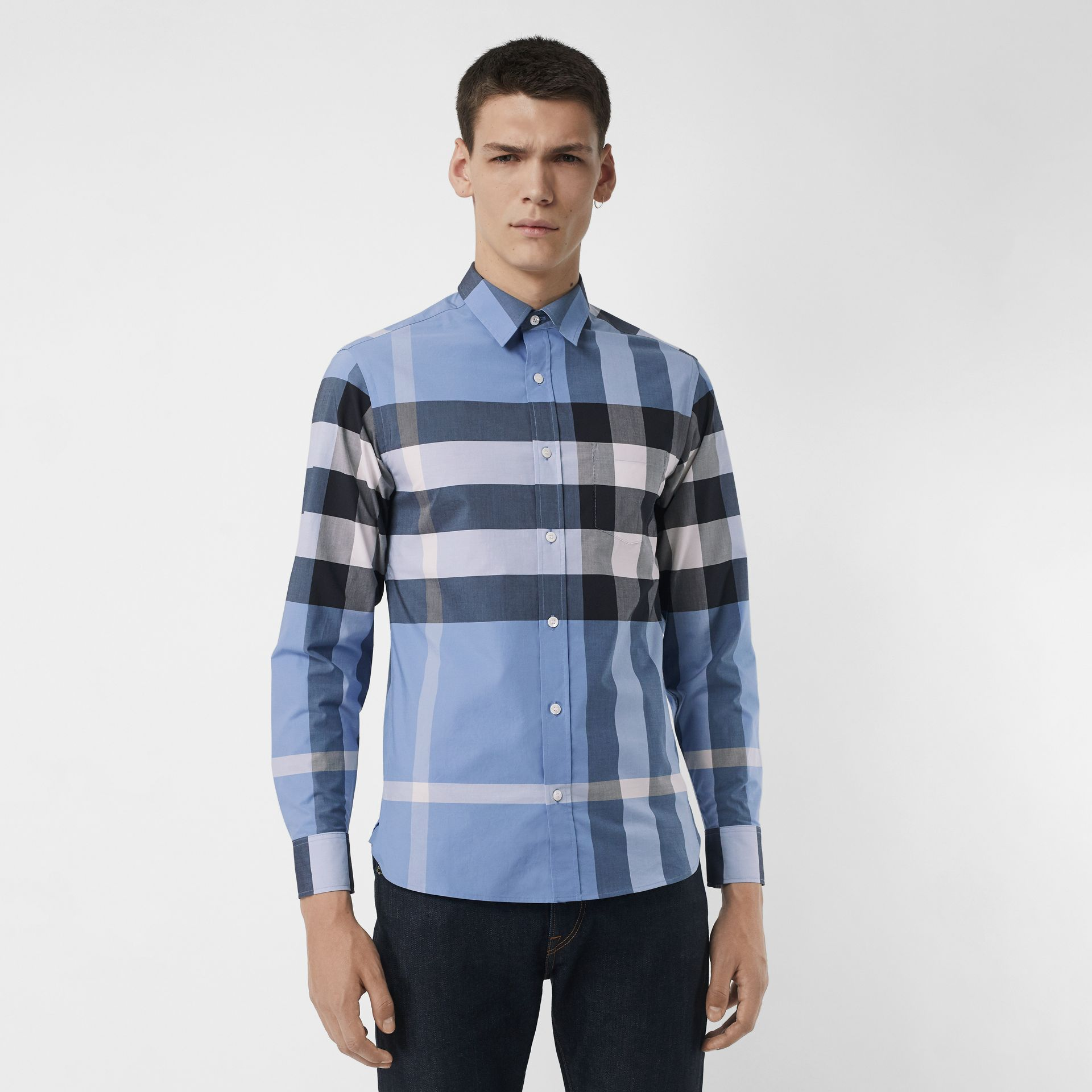 Check Stretch Cotton Shirt in Cornflower Blue - Men | Burberry - gallery image 0